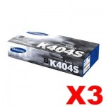 3 x Genuine Samsung SLC430, SLC480FW [CLT-K404S K404] Black Toner SU113A - 1,500 pages