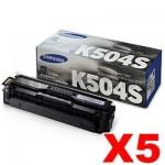 5 x Genuine Samsung CLP415N CLP415NW CLX4195FW CLX4195FN Black Toner Cartridge SU160A - 2,500 pages [CLT-K504S K504S]