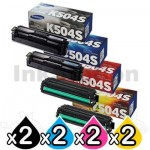 2 Set of 4 Pack Genuine Samsung CLP415N CLP415NW CLX4195FW CLX4195FN Toner Cartridge Set CLT-504