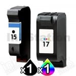 2 Pack HP 15 + 23 Compatible Inkjet Cartridges C6615DA + C1823D [1BK,1CL]