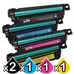 5 Pack HP CE250X-CE253A (504X/504A) Compatible Toner Cartridges [2BK,1C,1M,1Y]
