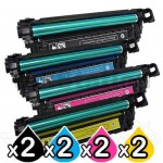 2 sets of 4 Pack HP CE250X-CE253A (504X/504A) Compatible Toner Cartridges [2BK,2C,2M,2Y]
