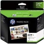HP 63 Genuine Inkjet Cartridges Photo Value Pack [BK+CL+Photo Paper] 3JR59A