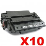 10 x HP Q6511X (11X) Compatible Black Toner Cartridge - 12,000 Pages