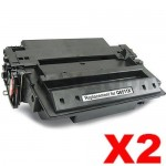 2 x HP Q6511X (11X) Compatible Black Toner Cartridge - 12,000 Pages