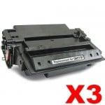 3 x HP Q6511X (11X) Compatible Black Toner Cartridge - 12,000 Pages