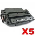 5 x HP Q6511X (11X) Compatible Black Toner Cartridge - 12,000 Pages