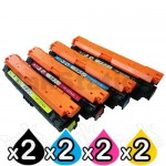 2 sets of 4 Pack HP CE740A-CE743A (307A) Compatible Toner Cartridges [2B,2C,2M,2Y]