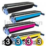 3 sets of 4 Pack HP C9730A-C9733A (645A) Compatible Toner Cartridges [3BK,3C,3M,3Y]