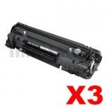 3 x HP CE285A (85A) Compatible Black Toner Cartridge - 1,600 Pages