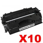 10 x HP CE505X (05X) Compatible Black High Yield Toner Cartridge - 6,500 Pages