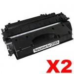 2 x HP CE505X (05X) Compatible Black High Yield Toner Cartridge - 6,500 Pages