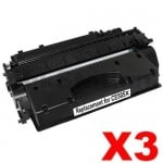 3 x HP CE505X (05X) Compatible Black High Yield Toner Cartridge - 6,500 Pages