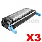 3 x HP Q5950A (643A) Compatible Black Toner Cartridge  - 11,000 Pages