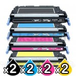 2 sets of 4 Pack HP Q6470A-Q6473A (501A/502A) Compatible Toner Cartridges [2BK,2C,2M,2Y]