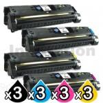 3 sets of 4 Pack HP C9700A-C9703A (121A) Compatible Toner Cartridges [3BK,3C,3M,3Y]