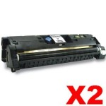 2 x HP C9700A (121A) Compatible Black Toner Cartridge - 5,000 Pages
