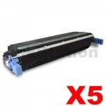5 x HP C9730A (645A) Compatible Black Toner Cartridge - 13,000 Pages