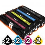 2 sets of 4 Pack HP CB540A-CB543A (125A) Compatible Toner Cartridges [2BK,2C,2M,2Y]