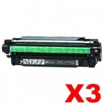 3 x HP CE250X (504X) Compatible Black Toner Cartridge - 10,500 Pages