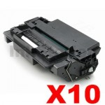 10 x HP CE255X (55X) Compatible Black High Yield Toner Cartridge - 12,000 Pages