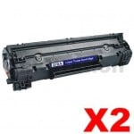 2 x HP 78A CE278A Compatible Black Toner Cartridge - 2,100 Pages