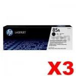 3 x HP CE285A (85A) Genuine Black Toner Cartridge - 1,600 Pages