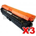 3 x HP CE740A (307A) Compatible Black Toner Cartridge - 7,000 Pages