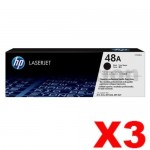 3 x HP 48A CF248A Genuine Black Toner Cartridge - 1,000 Pages