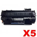 5 x HP CF280A (80A) Compatible Black Toner Cartridge - 2,700 Pages