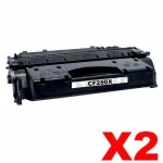 2 x HP CF280X (80X) Compatible Black Toner Cartridge - 6,900 Pages