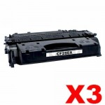 3 x HP CF280X (80X) Compatible Black Toner Cartridge - 6,900 Pages