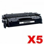 5 x HP CF280X (80X) Compatible Black Toner Cartridge - 6,900 Pages