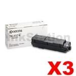 3 x Genuine Kyocera TK-1174 Black Toner Cartridge M2640IDW, M2040DN, M2540DN - 7,200 pages