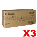 3 x Genuine Kyocera TK-1184 Black Toner Cartridge M2735DW, M2635DN - 3,000 pages