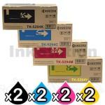 2 Sets of 4-Pack Genuine Kyocera TK-5294 Toner Cartridge Combo Ecosys P7240CDN [2BK,2C,2M,2Y]