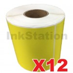 12 Rolls StarTrack Express Yellow Perforated Thermal Labels Rolls 100mm X 150mm - 350 Labels per Roll  (Roll diameter 10.5cm)