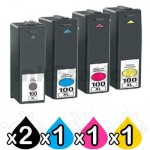 5 Pack Lexmark No.100XL Compatible Ink Cartridges [2BK,1C,1M,1Y]