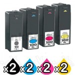 8 Pack Lexmark No.100XL Compatible Ink Cartridges [2BK,2C,2M,2Y]