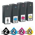 8 Pack Lexmark No.100XL Compatible Ink Cartridges [2BK,2C,2M,2Y]