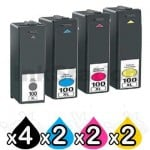 10 Pack Lexmark No.100XL Compatible Ink Cartridges [4BK,2C,2M,2Y]