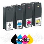Any 20 Pack Lexmark No.100XL Compatible Ink Cartridges