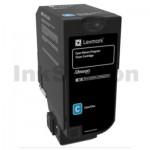 Lexmark 74C60C0 Genuine CS720 / CS725 / CX725 Cyan Return Program Toner Cartridge - 3,000 pages