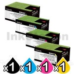 4 Pack Lexmark Genuine CX410 / CX510 Toner Cartridges High Yield - BK 4,000 pages, C/M/Y 3,000 pages
