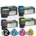 2 sets of 4 Pack Lexmark Genuine C540 / C543 / C544 / C546 / X543 / X544 / X546 Toner Cartridges High Yield - BK 2,500 pages & CMY 2,000 pages