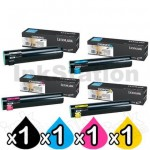 4 Pack Lexmark Genuine C935 Toner Cartridges - BK 38,000 pages & CMY 24,000 pages
