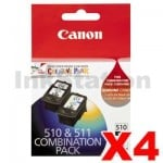 4 x Canon PG-510 + CL-511 Genuine Ink Twin Pack (PG510CL511CP) [4BK,4C]