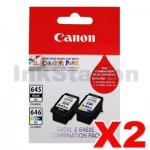 2 x Canon PG-645XL + CL-646XL Genuine High Yield Ink Twin Pack [PG645XLCL646XLCP] [2BK, 2CL]