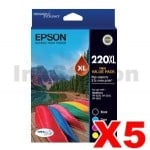 5 x Epson 220XL Genuine High Yield Ink Value Pack [C13T294692] [5BK,5C,5M,5Y]