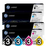 3 Sets of 4 Pack HP CF210X-CF213A (131X) Genuine Toner Cartridges [3BK,3C,3M,3Y]